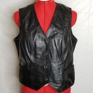 Athena Street & Steel Womens Leather Moto Vest Med